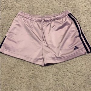 Adidas purple and navy jaw string silk shorts.